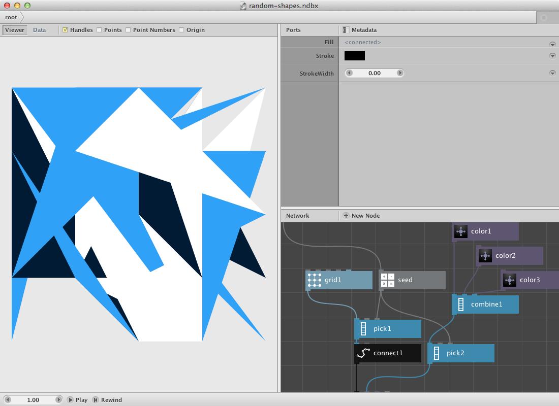 Tela do aplicativo Nodebox rodando uma arte generativa